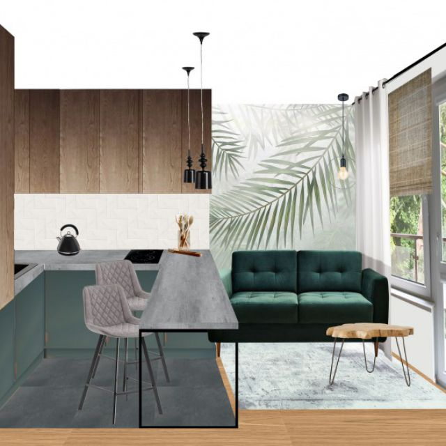 Коллаж интерьера кухни-гостиной