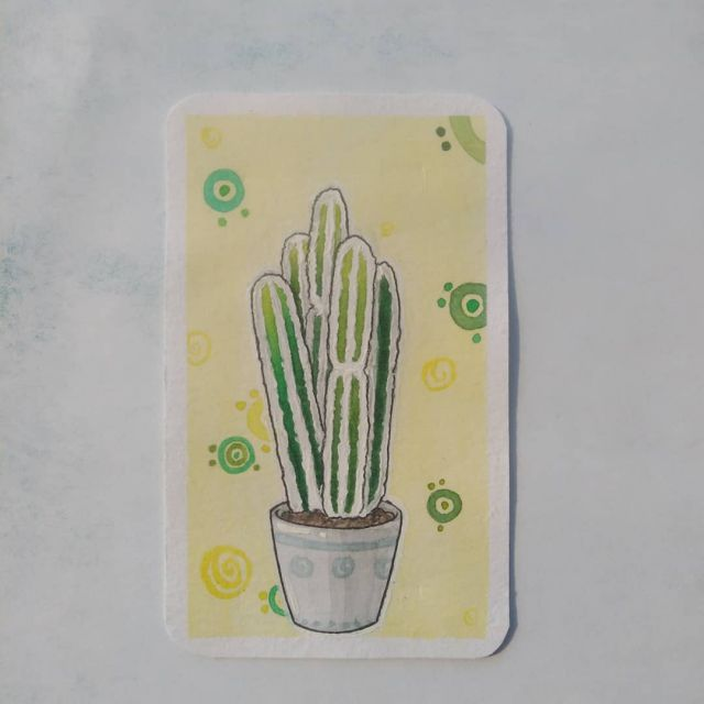 """Акварельная карточка,, кактус"""""""