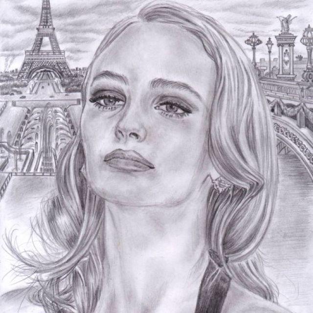 Лили Роуз Депп. Портрет простым карандашом.