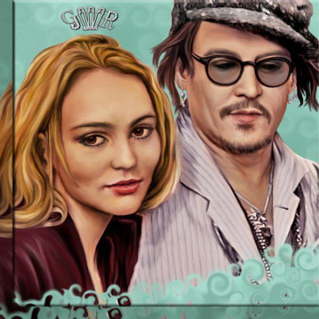 Джонни и Лили Роуз Депп. Диджитал арт.