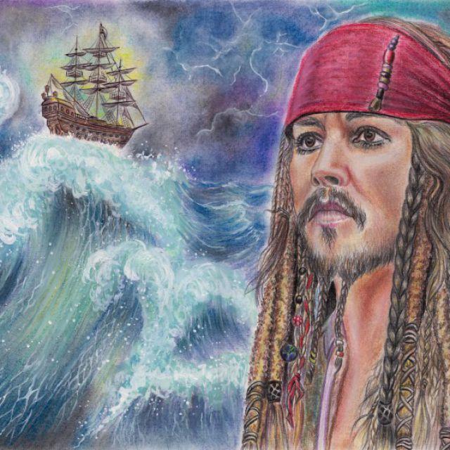 """Джек Воробей и корабль """"Глория"""". Рисунок пастелью."""