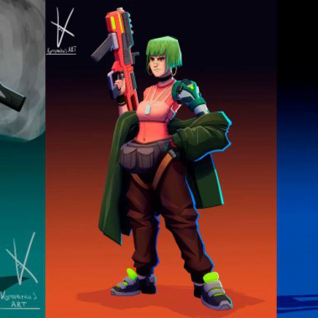 Концепты кибер-панк персонажей
