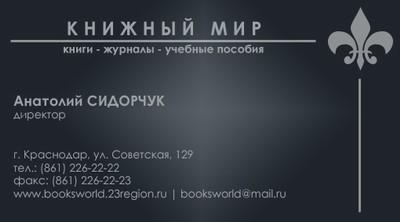 """Дизайн визитной карточки ООО """"Книжный Мир"""". Вариант №1"""