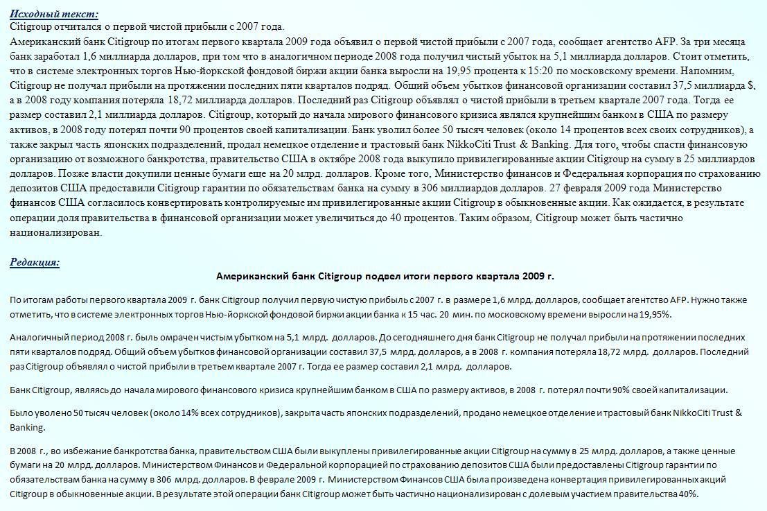 Американский банк Citigroup подвел итоги первого квартала 2009 г