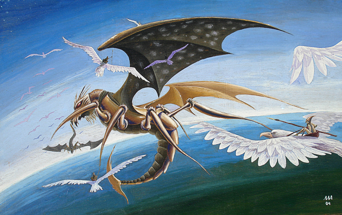 Погонщики драконов (гуашь)
