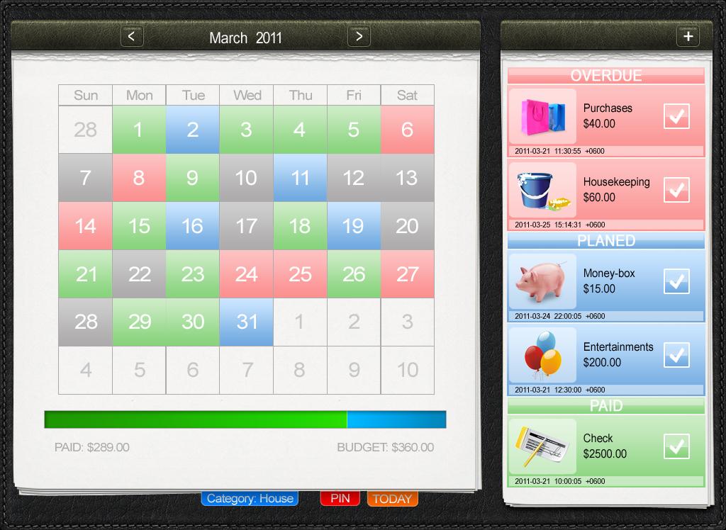 Дизайн для приложения Ipad Organizer