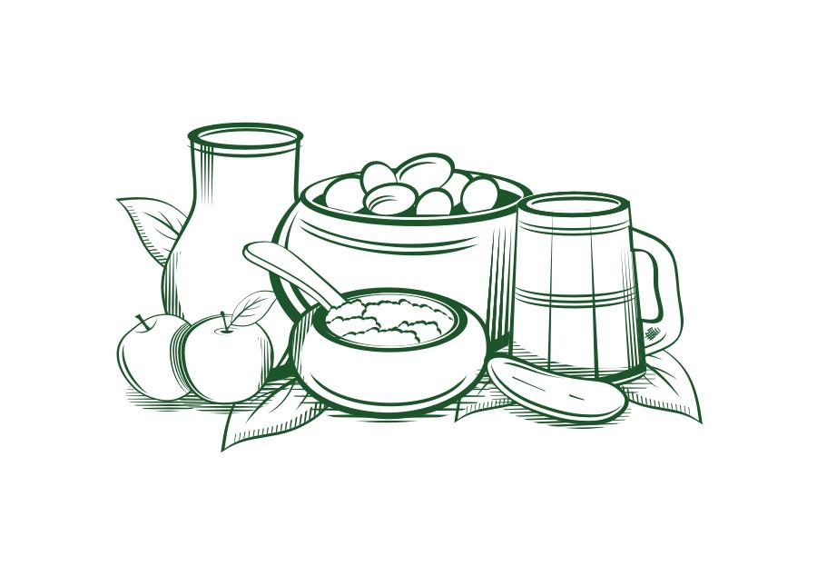 Векторная иллюстрация продуктов.