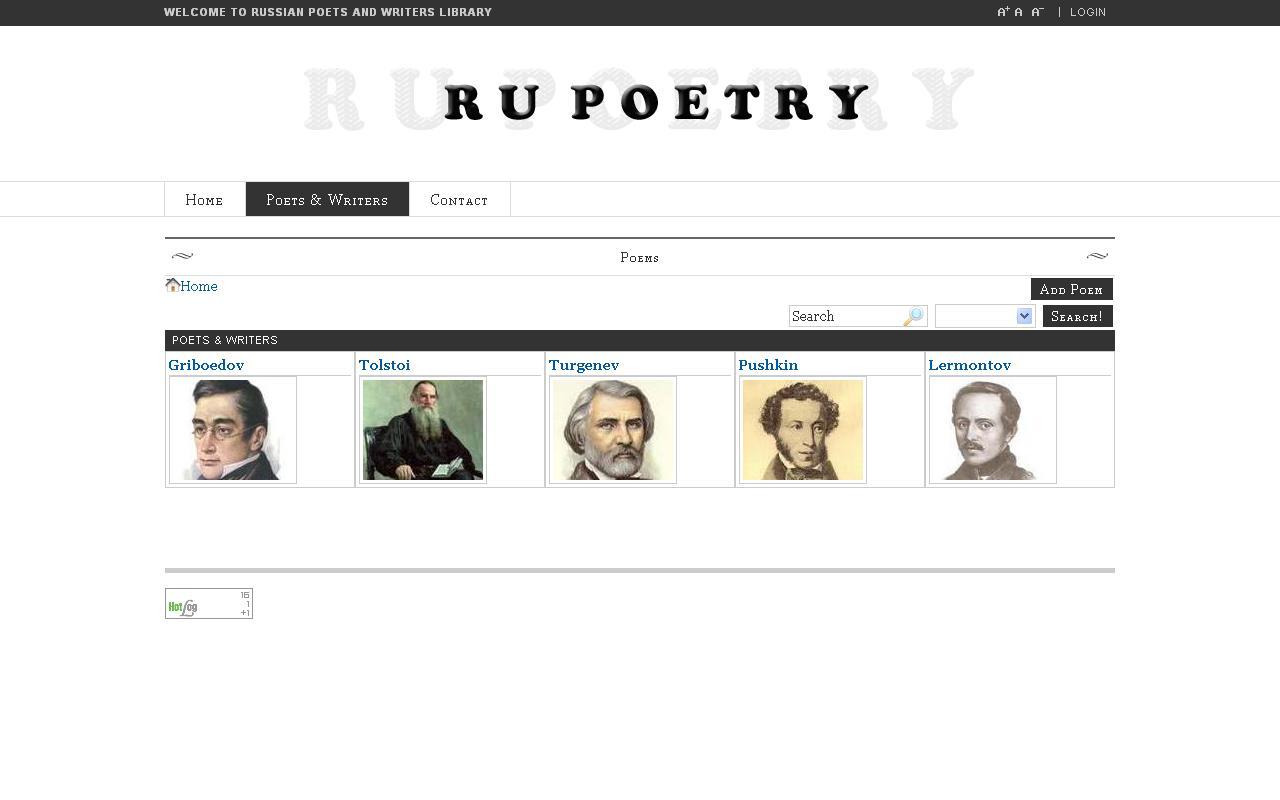 Англоязычный сайт посвященный русской поэзии.