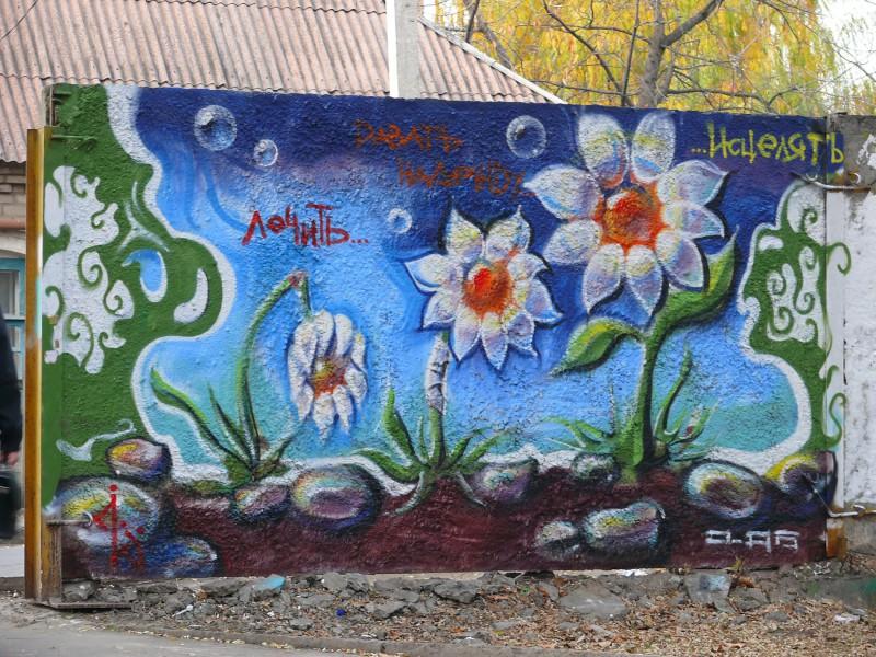 """""""лечить, давать надежду,..""""; граффити для конкурса в г. Донецк"""