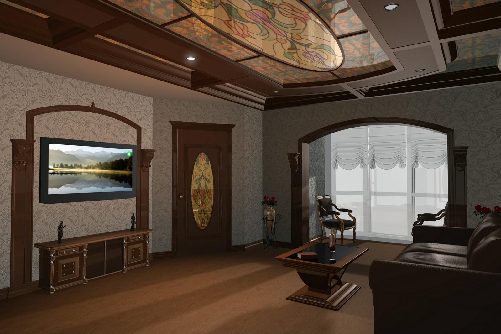 Кабинет с витражом на потолке