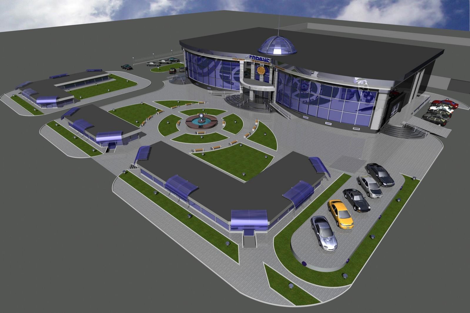 Торговый центр с прилегающей территорией