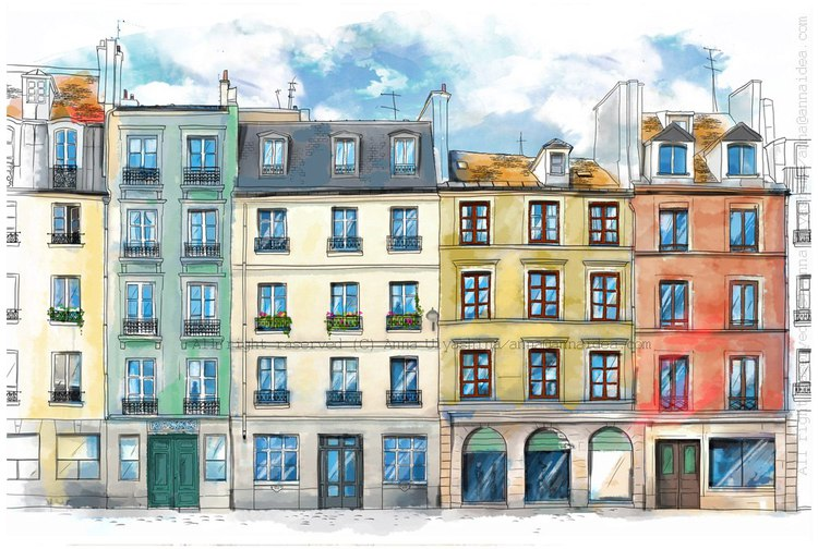 Картинка улица дом нарисованная