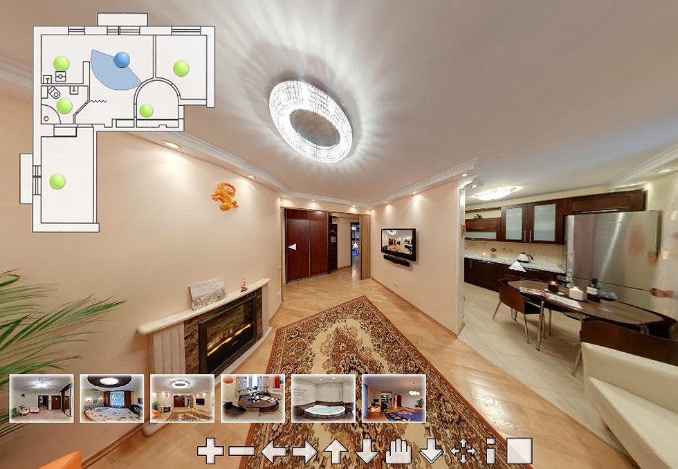 Виртуальный тур по квартире с интерактивным ганпланом