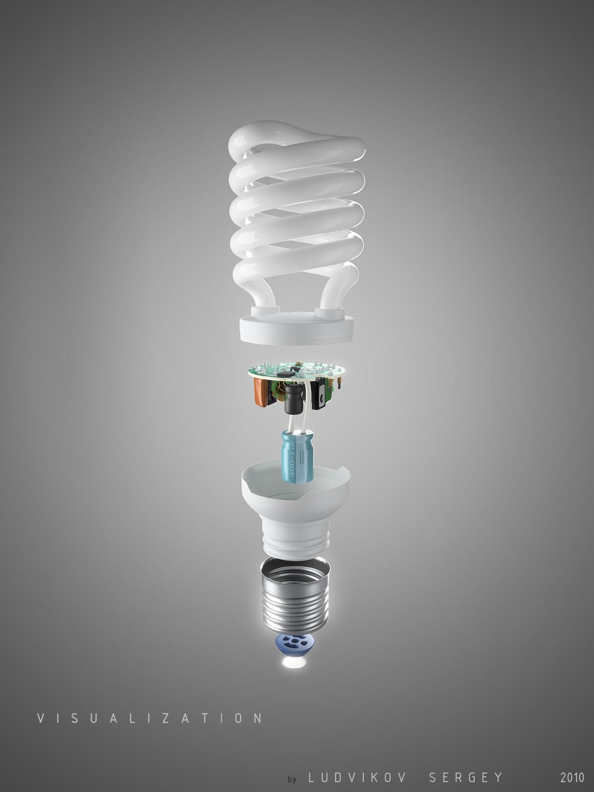 Визуализация лампы. Взрыв-схема