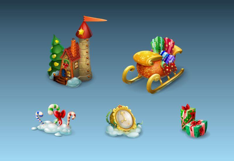 Новогодние предметы, Playrix