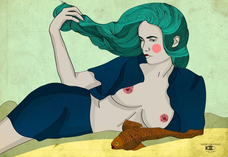 девушка рыба