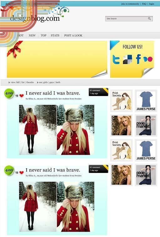 Вариант дизайна для сайта о моде