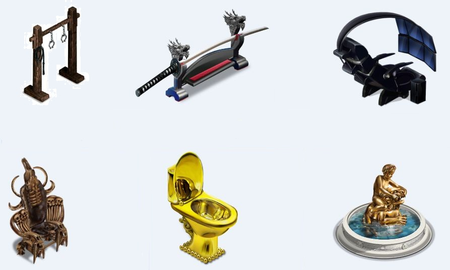Необычные предметы для аналога игры Sims