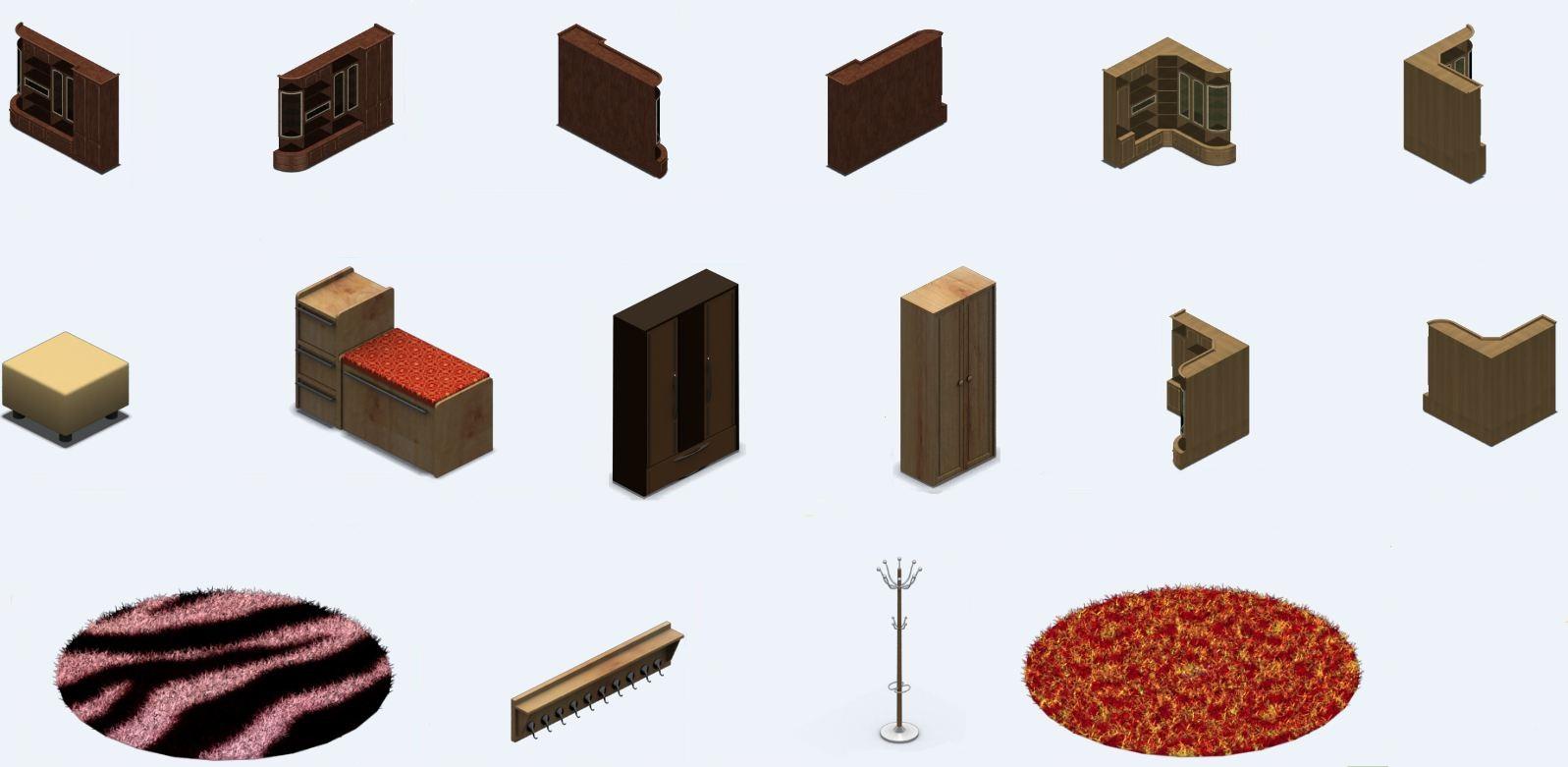 Шкафы (2) для аналога игры Sims
