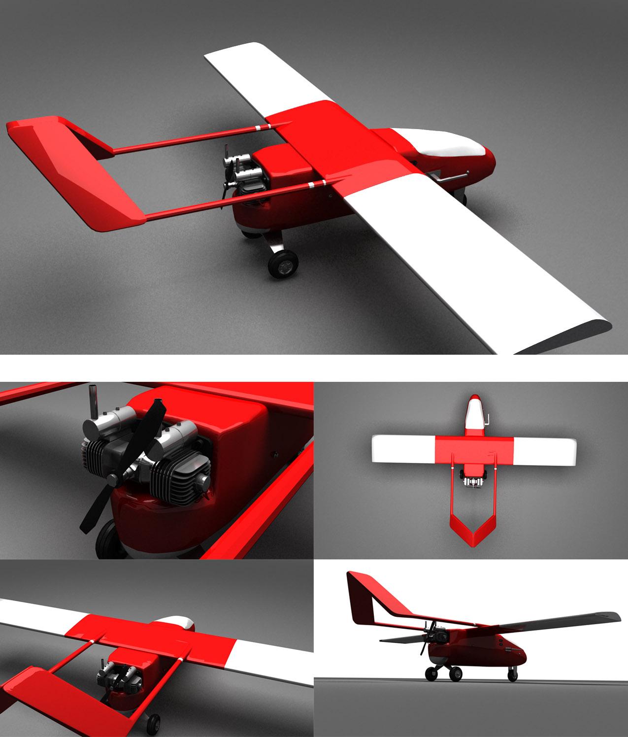 3d модель самолет безпилотный СК-45