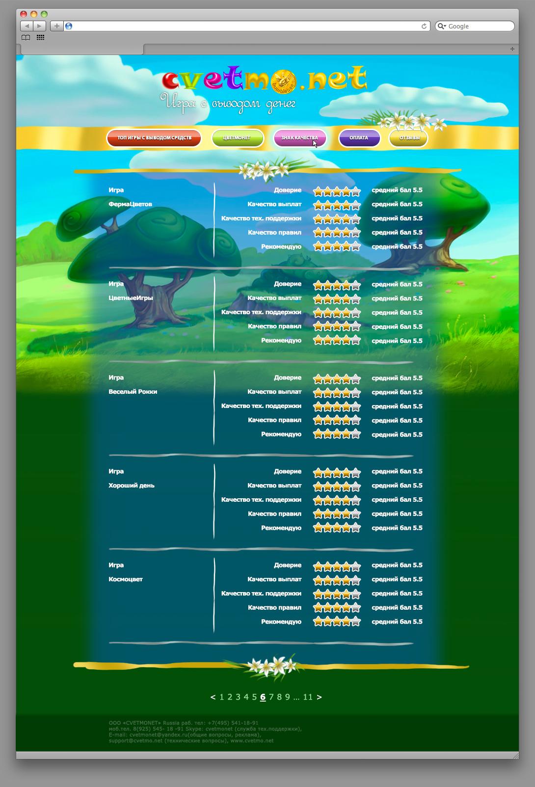 Страница голосования сайта Cvetmo.net