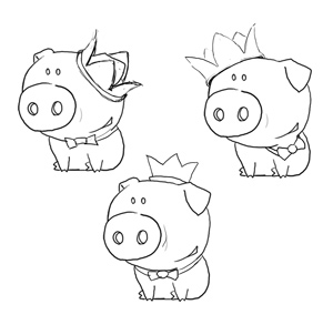 Эскизы для логотипа HoloPig Games (2)