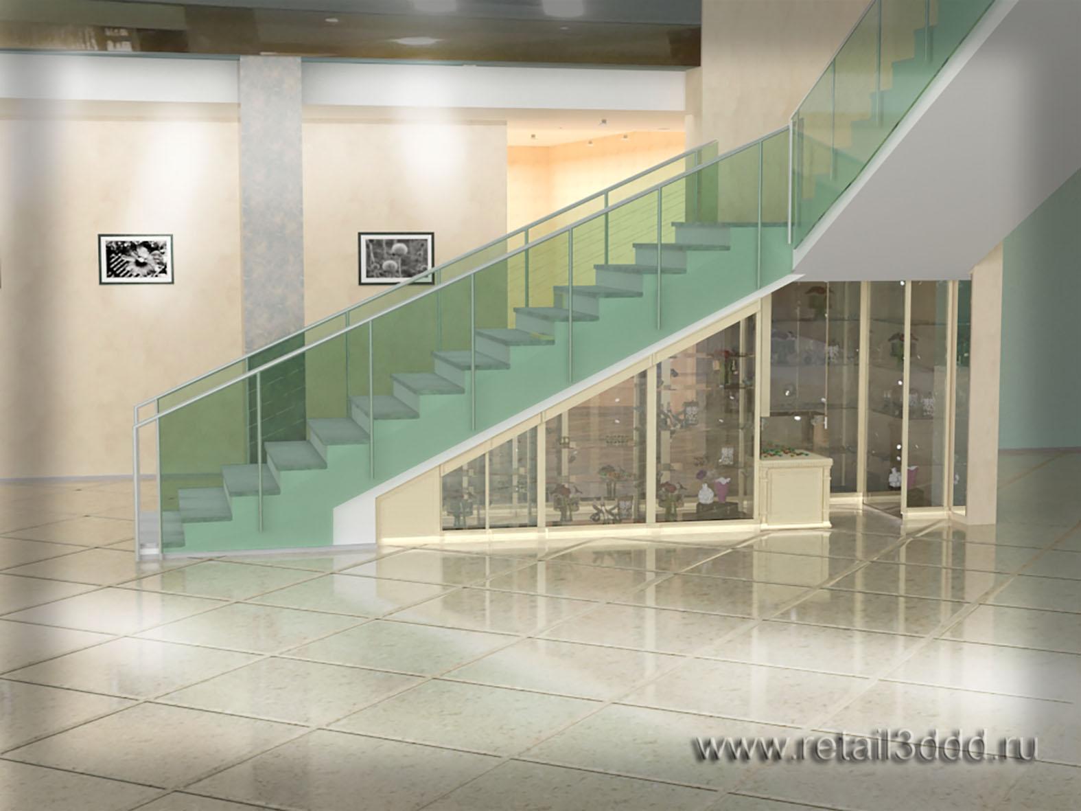 Визуализация павильона по продаже сувениров и бижутерии для ТЦ.