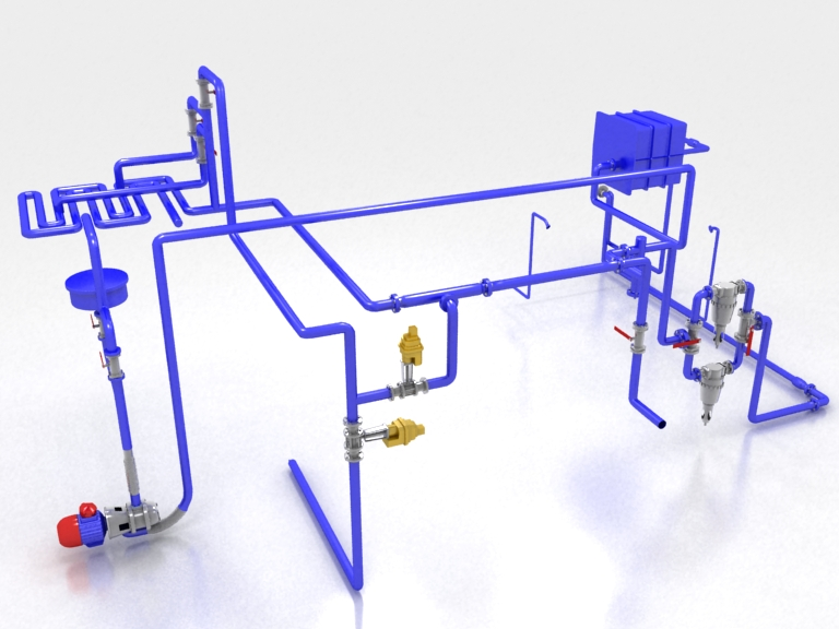 3д схема подвода воздуха