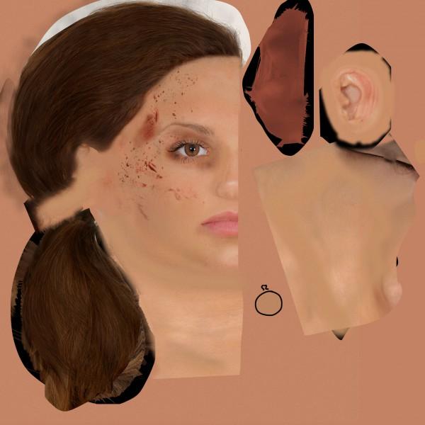 Текстура головы жен. персонажа для игры Тайский бокс (2048*2048)