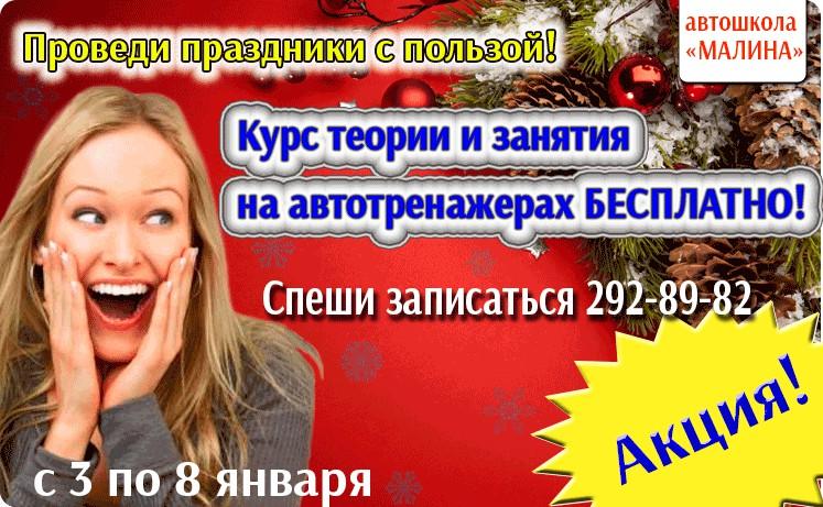 "Рекламный баннер автошколы ""Малина"""