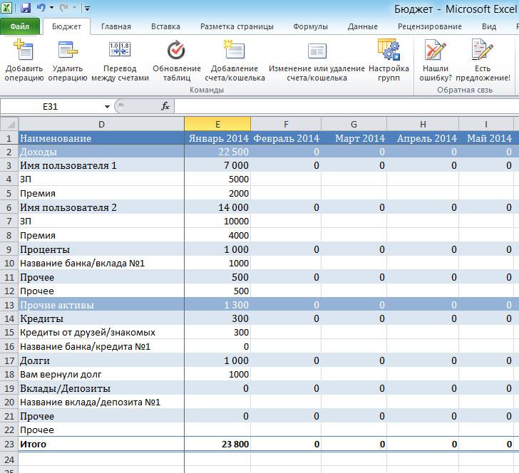 Excel домашняя бухгалтерия госпошлина бланк регистрация ооо