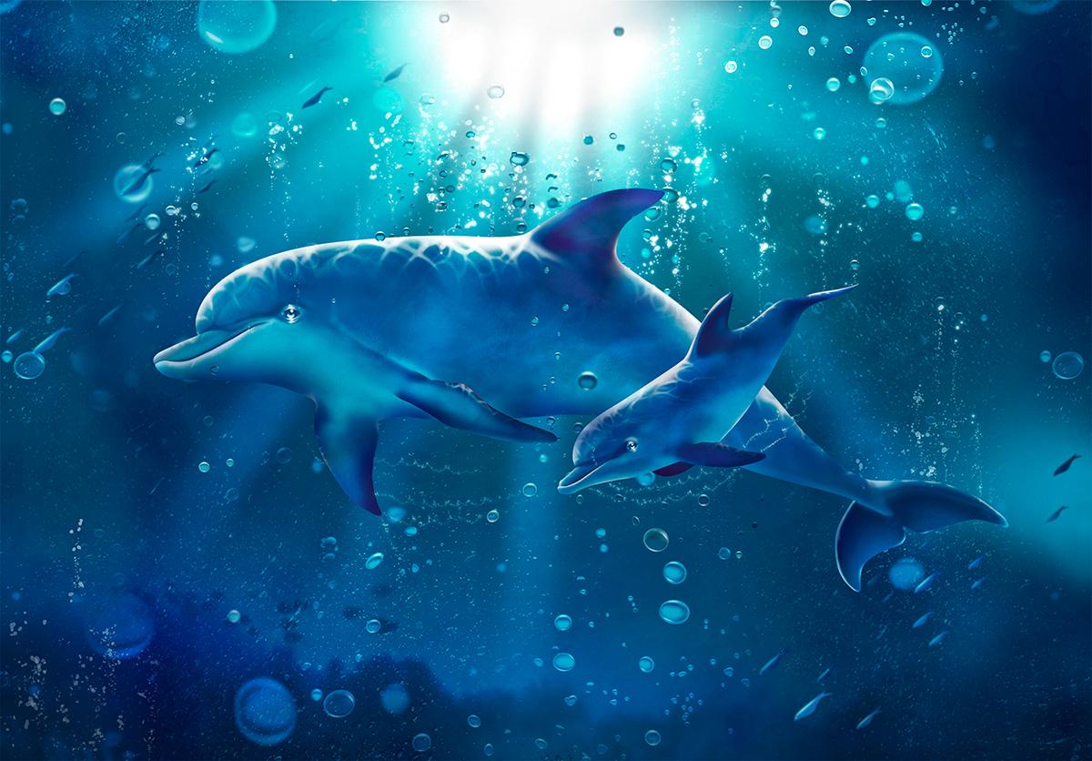 Иллюстрация для панно. 120х80 см. Дельфины