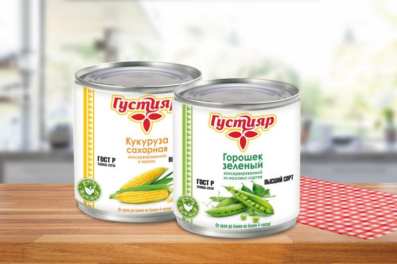 Этикетка для консервированного горошка и кукурузы