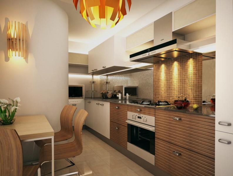 Маленькая кухня-столовая с ярким акцентом