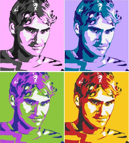 Роджер Федерер. Поп-арт портрет.