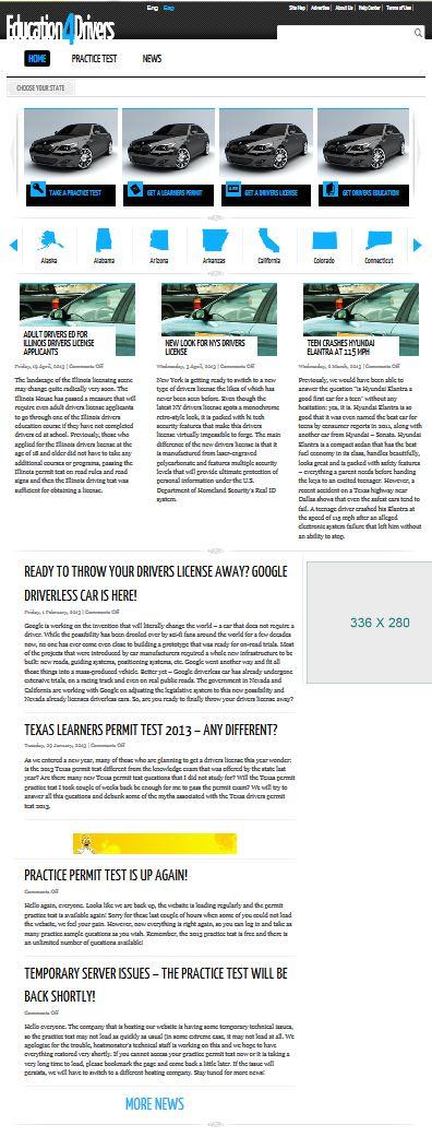 Сайт онлайн-тестирования по ПДД в США (Wordpress)