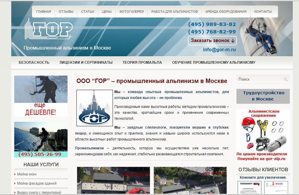 Наполнение, поддержка продвижение сайта по услугам промальпа