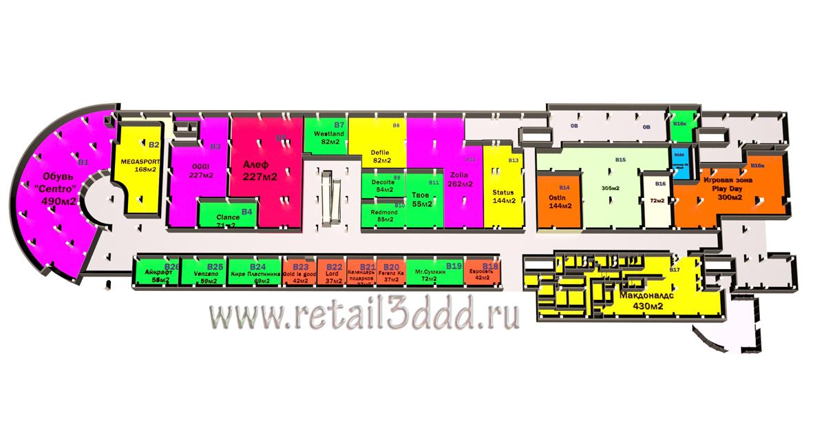 Схема расположения арендаторов 3D.