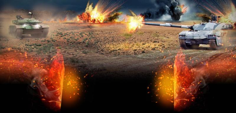 Фотоколлаж фона для нового сайта игры Лига танков