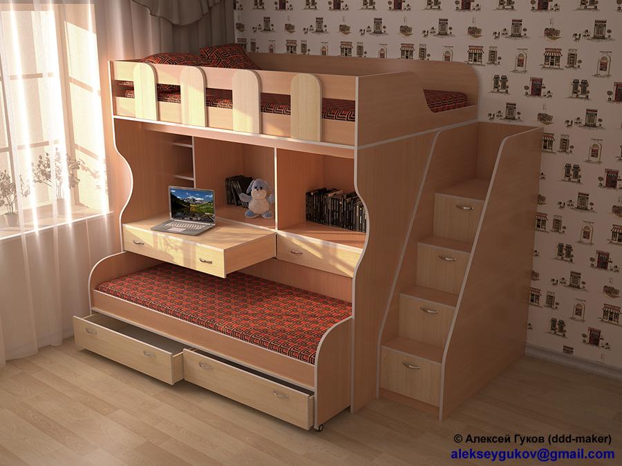 Визуализация детской кровати в интерьере