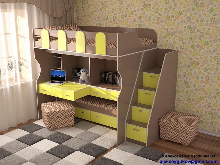 Визуализация детской кровати в интерьере 2