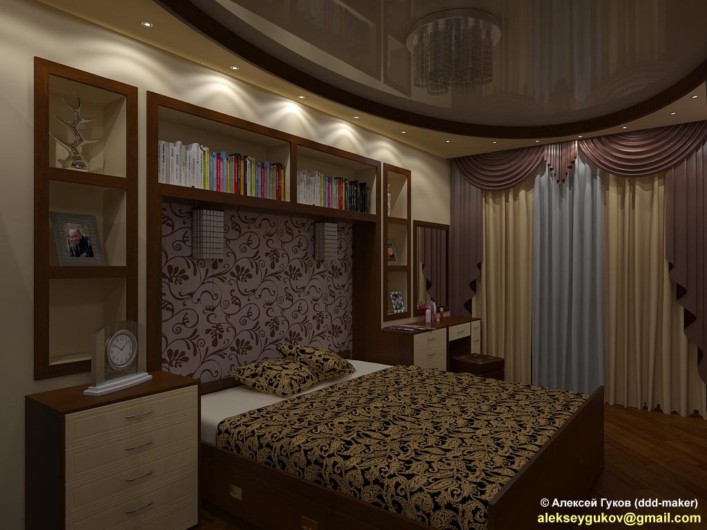 Интерьер спальни - ночной вид