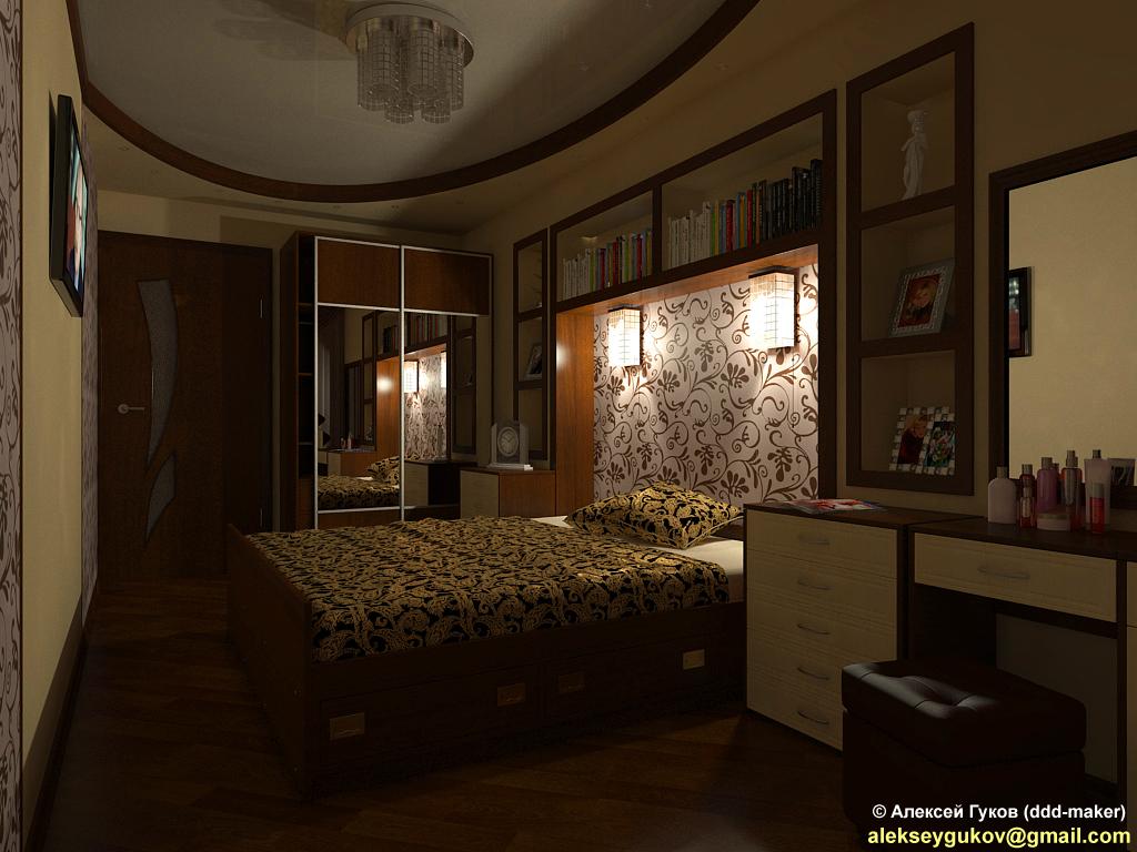 Интерьер спальни - включены ночники_2