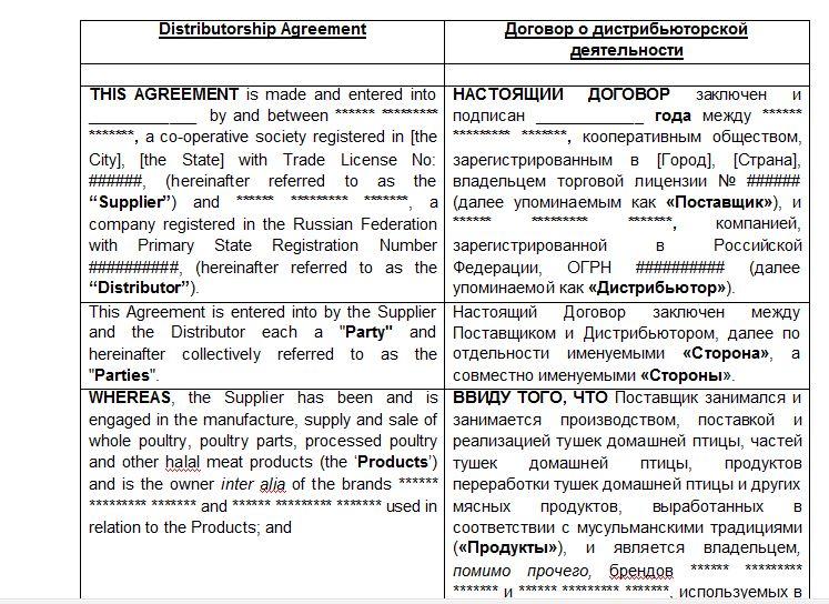 Договор англо-русский перевод