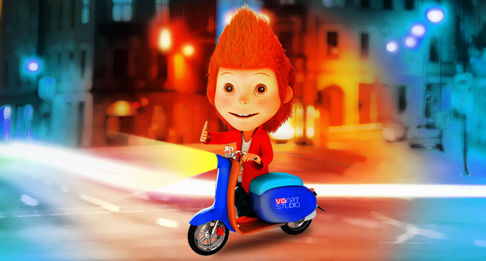 Персонаж Майк на скуторе