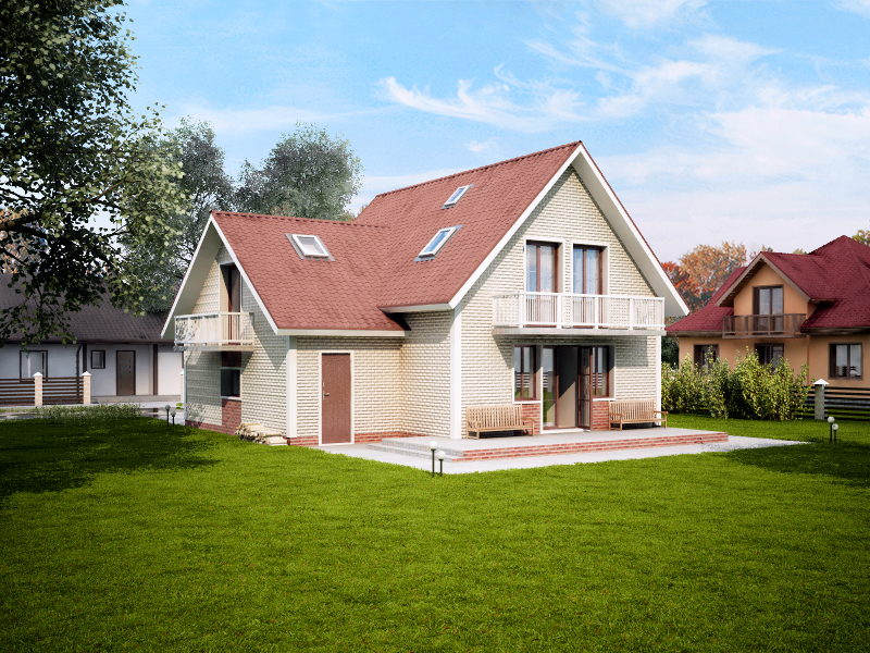 Загородный дом/Моделирование+Визуализация