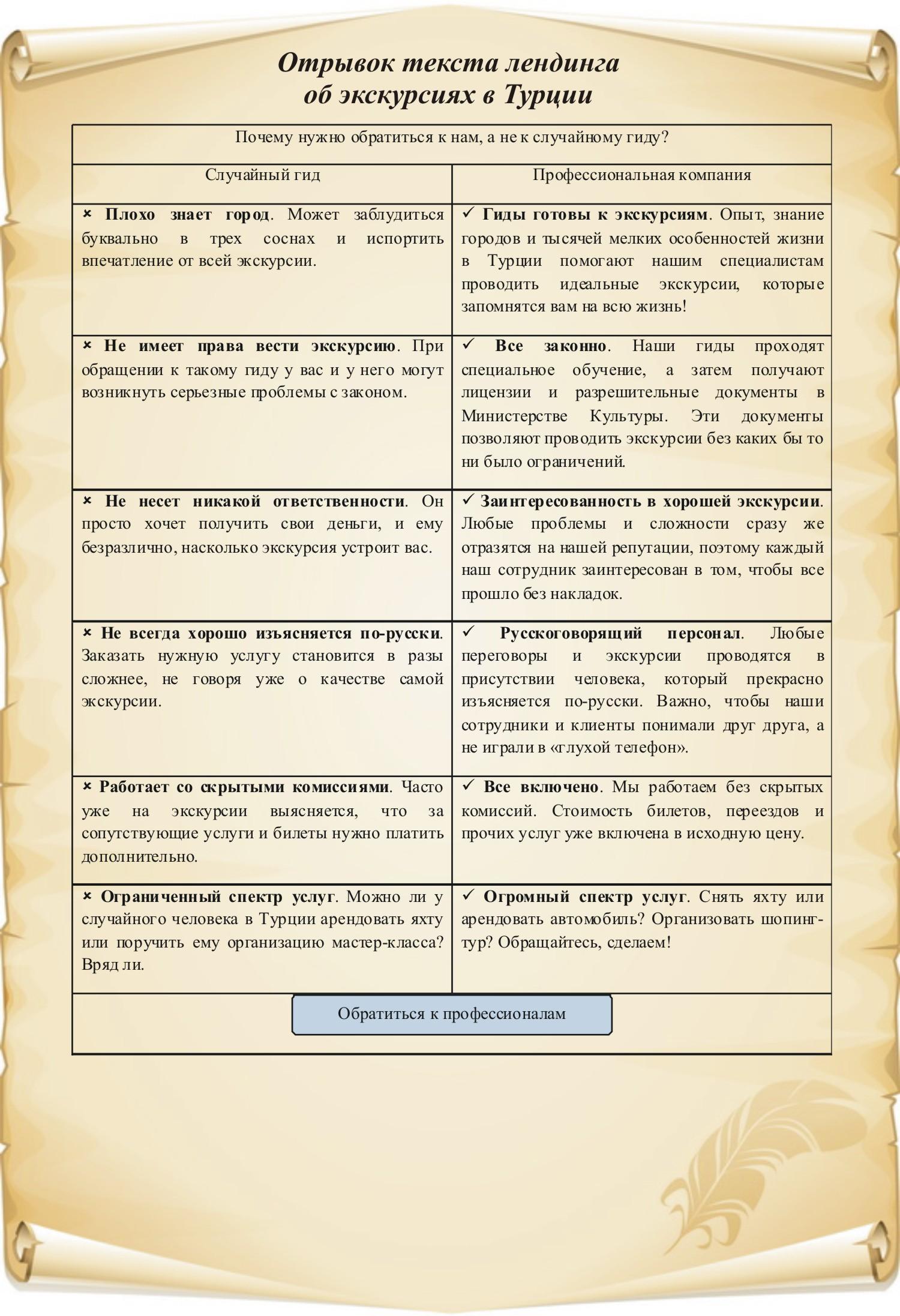 Текст лендинга об организации экскурсий в Турции (отрывок)
