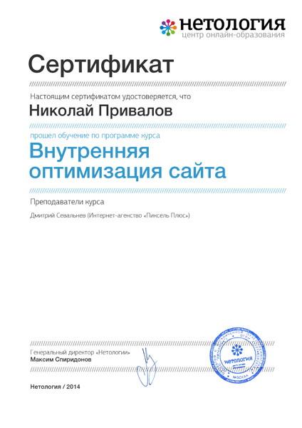 Сертификат по специализации SEO