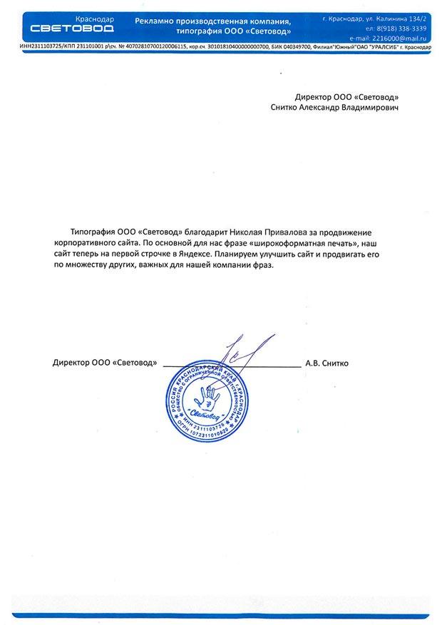 """Продвижение сайта агентства """"Световод"""""""