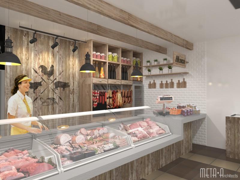 Дизайн магазина мяса и хлебобулочных изделий
